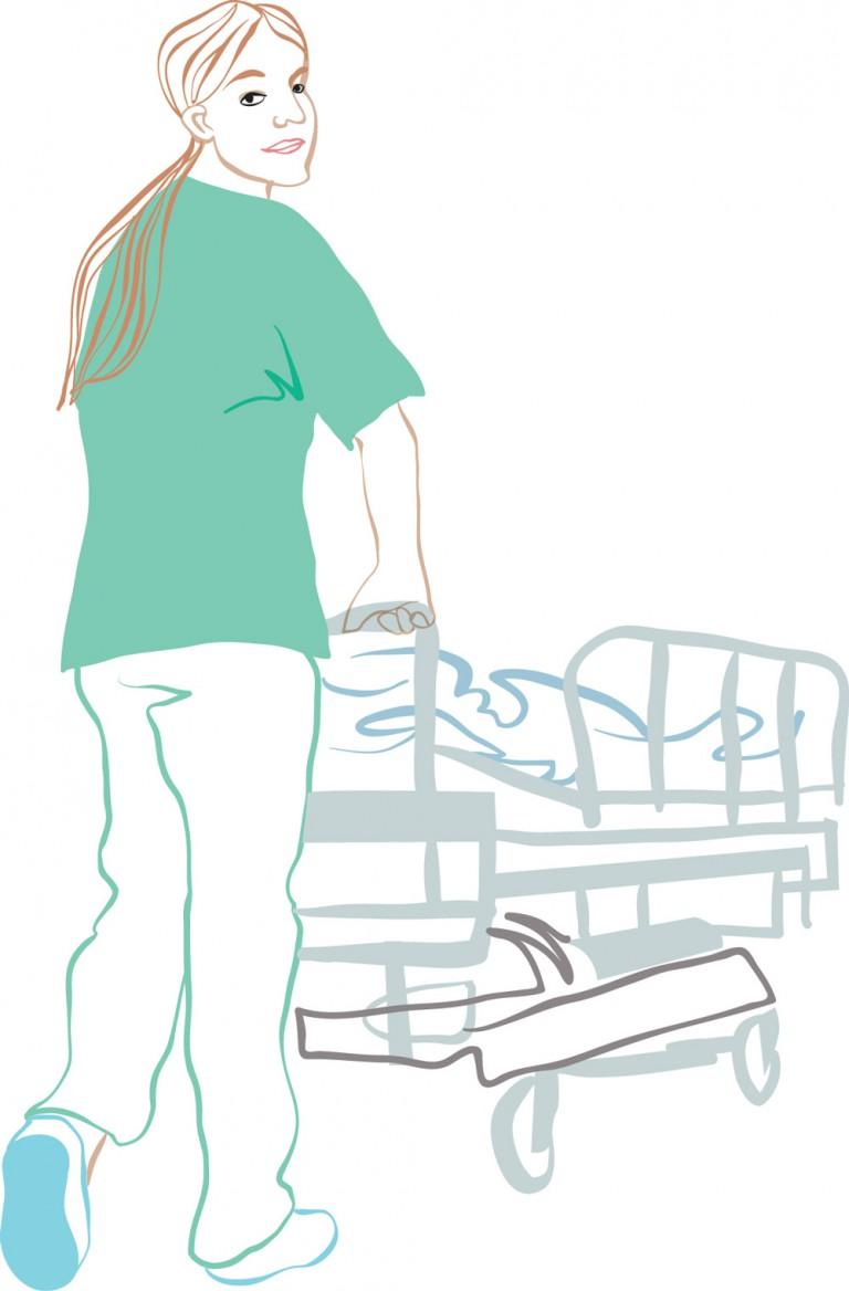 vård_Kvinnlig_sköterska_rullar_säng